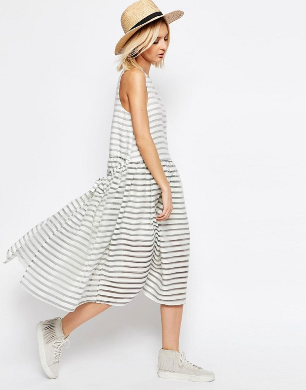 ASOS White stripe organza trapeze dress